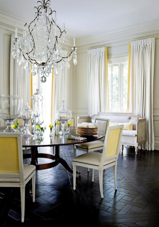Yellow Gray and White Dining Room