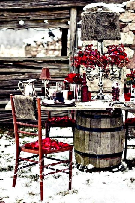 Ideas for eating outdoors in the winter - Interesting tables capes for christmas providing cozy gathering space ...