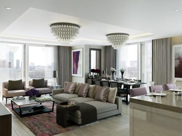 CGI of Living Room/Dining Room View 3