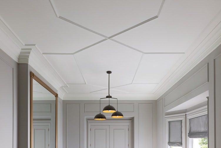Geometric ceiling detail created with molding. #architecturaldetail #moldings