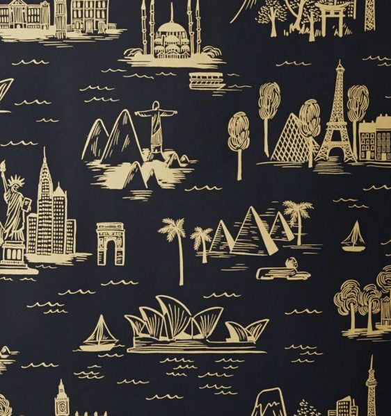 dark blue pattern wallpaper